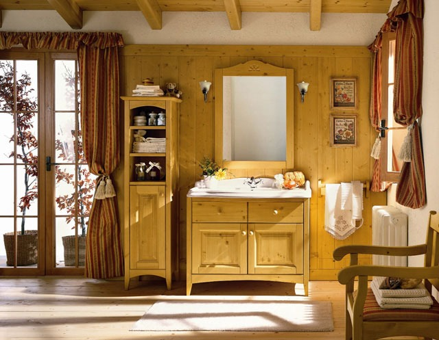 mobili bagno country: legno, ferro battuto